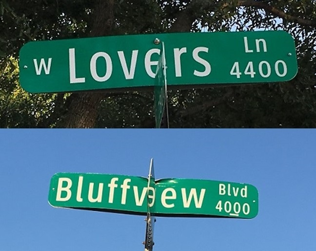 Lovers Lane and Bluffview Blvd.