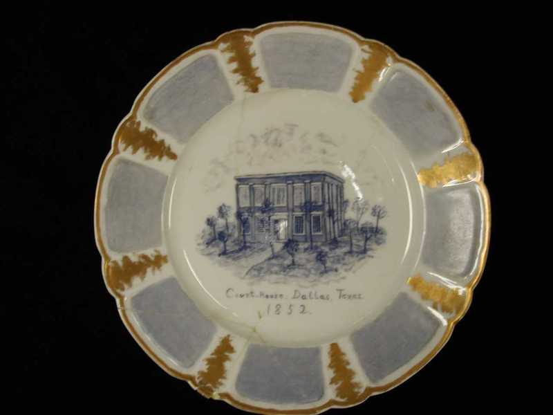 Image of the Old Dallas Court House on a dinner plate