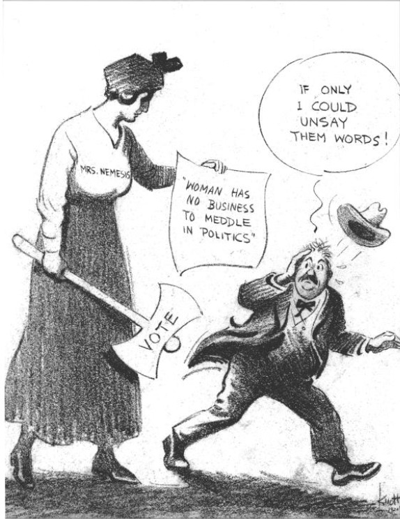 Cartoon legislators opposing suffrage